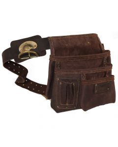 DWG Dark Brown Oil Tan Leather Single Multi-Pocket Work Pouch With Belt and Swinging Hammer Holder - DWGNB30006