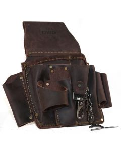 DWG Dark Brown Oil Tan Leather Electricians Tool Pouch Multi-Pocket with Electrical Tape Chain Holder - DWGTP50001